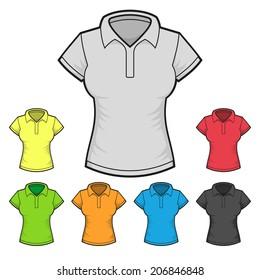 Women's Polo T-shirt Design Template Color Set. Vector illustration