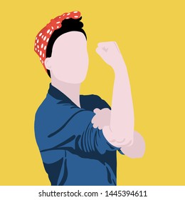 Women's Power. Iconic woman's fist/symbol of female power and industry. cartoon woman with can do attitude. Vector EPS