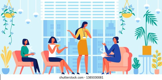 Womens Psychological Training with Coach. Help, Counseling, Group Classes, Advice and Support. Female Psychologist Giving Consultation to Girls in Relaxed Atmosphere. Cartoon Flat Vector Illustration