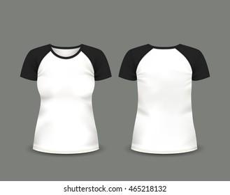 Women's raglan t-shirt with black short sleeve in front and back views. Vector template. Fully editable handmade mesh.