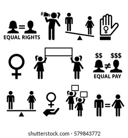 Women's rights, feminism, equal rights form men and women