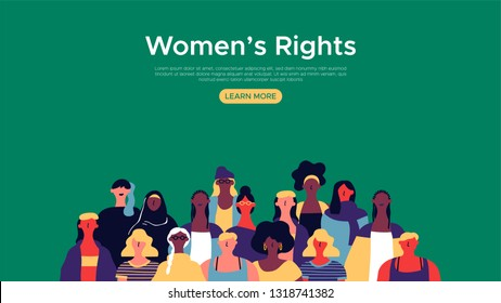 Womens Rights landing web page template. Diverse woman group illustration for internet site background, female community support concept.