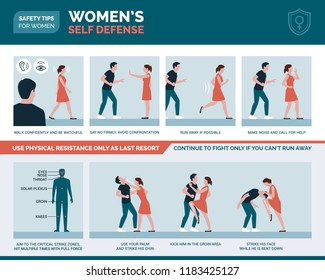 Women's self defense advices: sexual assault prevention and protection vector infographic