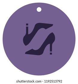 Women's shoe Icon with trendy symbol for shop clothes. Icon female shoes silhouette for app, e-shop feminine business, shop sign and banner.