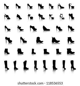 Womens shoes and boots icon set