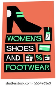 Women's Shoes & Footwear - FREE Shipping (Flat Style Vector Illustration Shopping Poster Design)