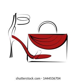 Women's shoes with high heels and women's bag. Graphics. Image for store, company, business logo.