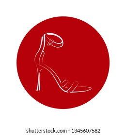 Women's shoes with high heels. Graphics. Image for store, company, business logo.