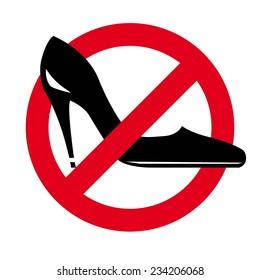 women's shoes on a background of the prohibitory sign. vector icon on white background