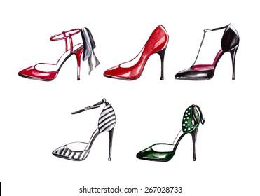 Women's shoes watercolor. Fashion.