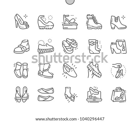 6cb58418b33b3 Women's shoes Well-crafted Pixel Perfect Vector Thin Line Icons 30 2x Grid  for Web