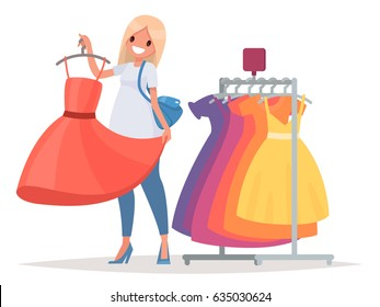 Women's shopping. The girl is trying on a new dress in the store. Vector illustration in a flat style