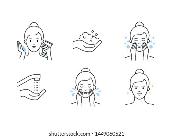 Women's skin care cleansing outline vector icons