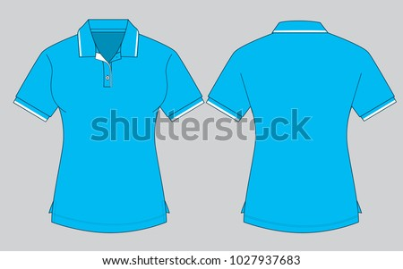 Womens Sky Blue Polo Shirt Template Stock Vector (Royalty Free ... 6c04281733