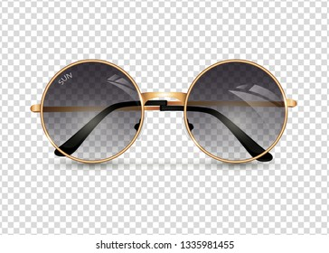 Women's sunglasses isolated ontransparent background, round gold-rimmed glasses, women's accessory. Summer season, the sea, the beach, vintage, trend. Vector illustration. EPS10