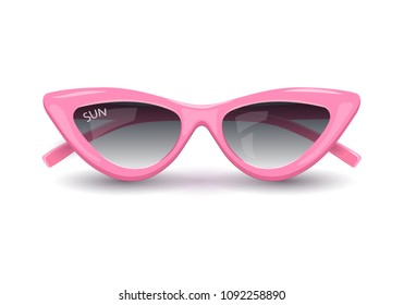 Women's sunglasses, pink glasses, women's accessory. Summer season, the sea, the beach. Vector illustration.