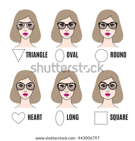 4e2c86b1f37 Womens Sunglasses Shapes Different Face Shapes Stock Vector (Royalty ...