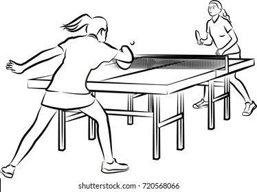 women's table tennis - woman in action