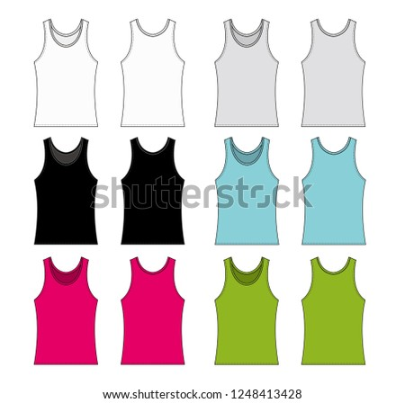 Womens Tank Top Template Illustration Set Stock Vector Royalty Free