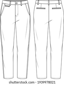 Women's Tapered Chino Pants. Trousers technical fashion illustration with 5 pockets. Flat apparel chino template front and back, white colour. Unisex CAD mockup.