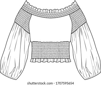 Womens Top Fashion Flat Sketch Template vector. GATHERED CROP TOP