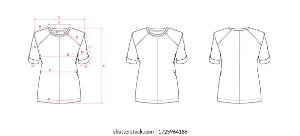 Women's top with short sleeve and crew neck, flat sketch, front and back views, with measurement guide