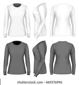 Women's t-shirt long sleeve. Fully editable handmade mesh. Vector illustration.