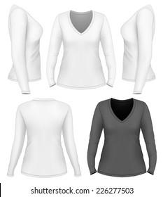 Women's v-neck long sleeve t-shirt design template (front, back, side views). Vector illustration.