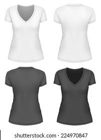 Women's v-neck t-shirt design template (front, back views). Vector illustration.