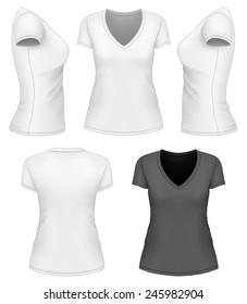 Women's v-neck t-shirt design template. Vector illustration.