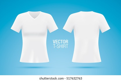 Women's V-neck T-shirt vector template. Short sleeve white T-shirt realistic mockup, isolated on a blue background. Front & rear sides.