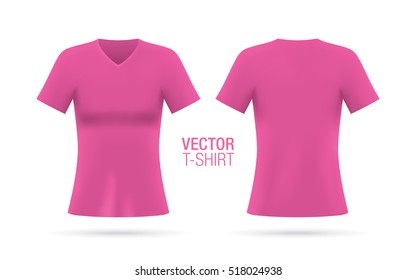 Women's V-neck T-shirt vector template. Short sleeve pink T-shirt realistic mockup, isolated on a white background. Front & rear sides.