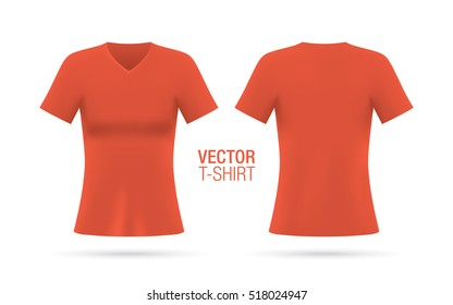 Women's V-neck T-shirt vector template. Short sleeve red T-shirt realistic mockup, isolated on a white background. Front & rear sides.