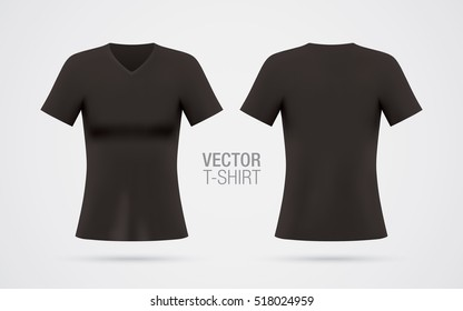 Women's V-neck T-shirt vector template. Short sleeve black T-shirt realistic mockup, isolated on a white background. Front & rear sides.