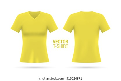 Women's V-neck T-shirt vector template. Short sleeve yellow T-shirt realistic mockup, isolated on a white background. Front & rear sides.