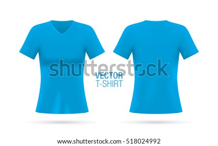 111ca6bb6 Women's V-neck T-shirt vector template. Short sleeve blue T-shirt realistic  mockup, isolated on a white background. Front & rear sides. - Vector