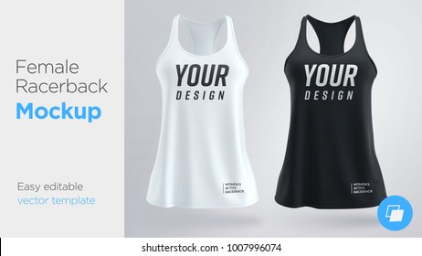 Women's white and black sleeveless tank top. Female active racerback mockup. Vector illustration