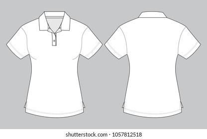 Women's white polo shirt vector