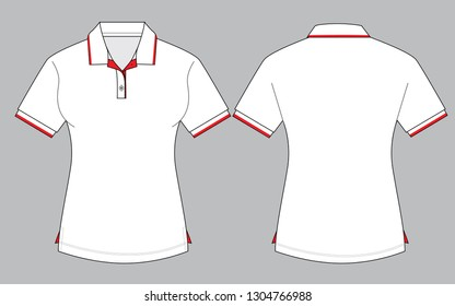 Women's White Polo Shirt Vector (Red Ribbed)