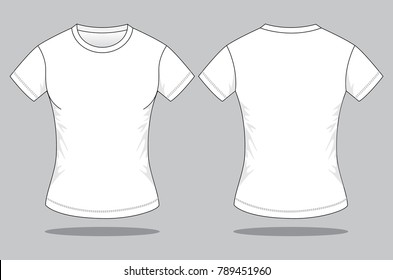 Women's white T shirt for template (Front and Back views)