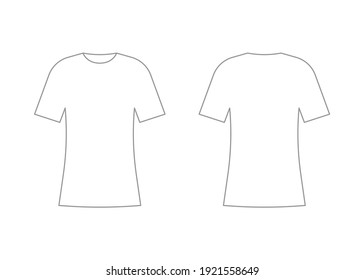 Womens white t-shirt outline template with short sleeve. Shirt mockup in front and back view. Vector illustration