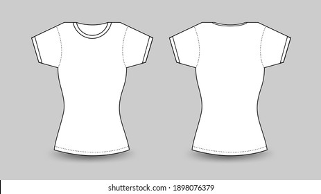Womens white t-shirt with short sleeve, T shirt mockup in front and back view Vector template illustration, template for clothing print, empty apparel for mockup, Female fashion