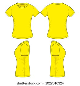 Women's Yellow T-shirt Vector (Front,back and side views))