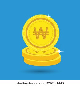 Won Gold coin Stack. Financial growth concept with golden coin won.