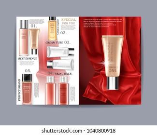 Wonder cosmetic set, magazine vector poster design