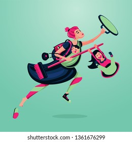 Wonder mother with children. Active woman cartoon character. Leadership happy female person.