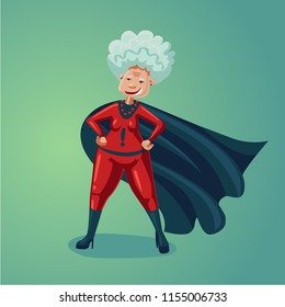 Wonder old lady. Senior adult woman in super hero suit. Healthy lifestyle humor cartoon illustration.