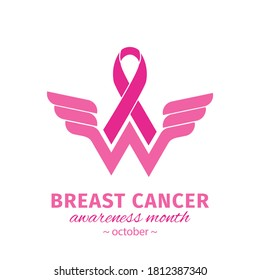 Wonder Women Cancer Survivor. Breast cancer awareness design with Pink ribbon. Pink ribbon logo for awareness campaigns, support and charity. Vector flat design isolated on white background