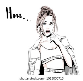 wondered girl thinking hm
