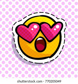 Wondered Smile with love emoticon. Happy smail in pop art style. Vector illustration.